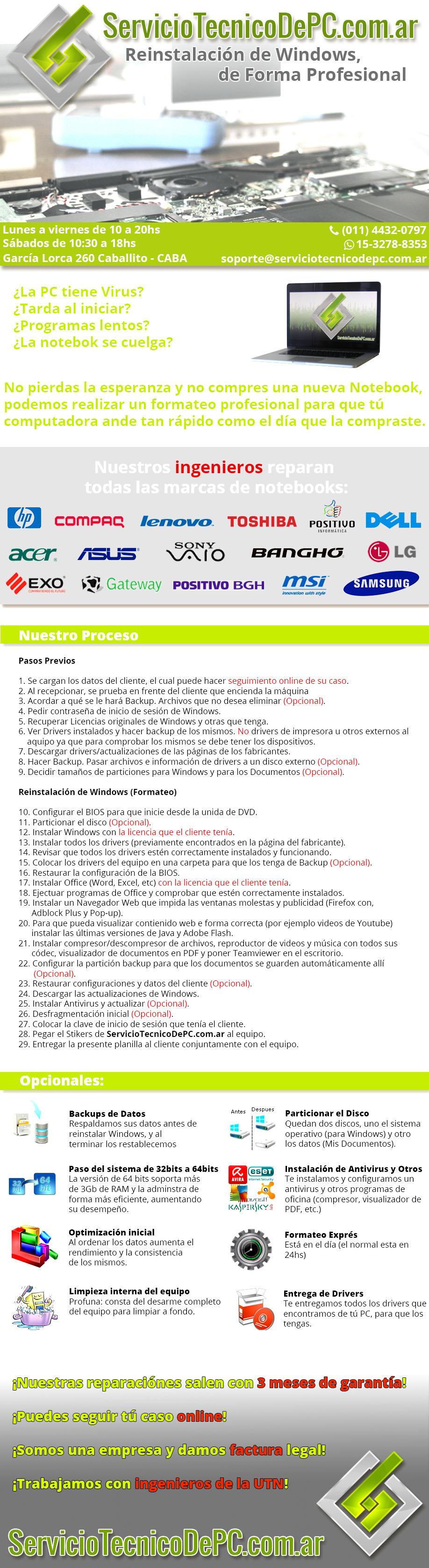 Reinstalación Windows Formateo PC Servicio Tecnico de PC