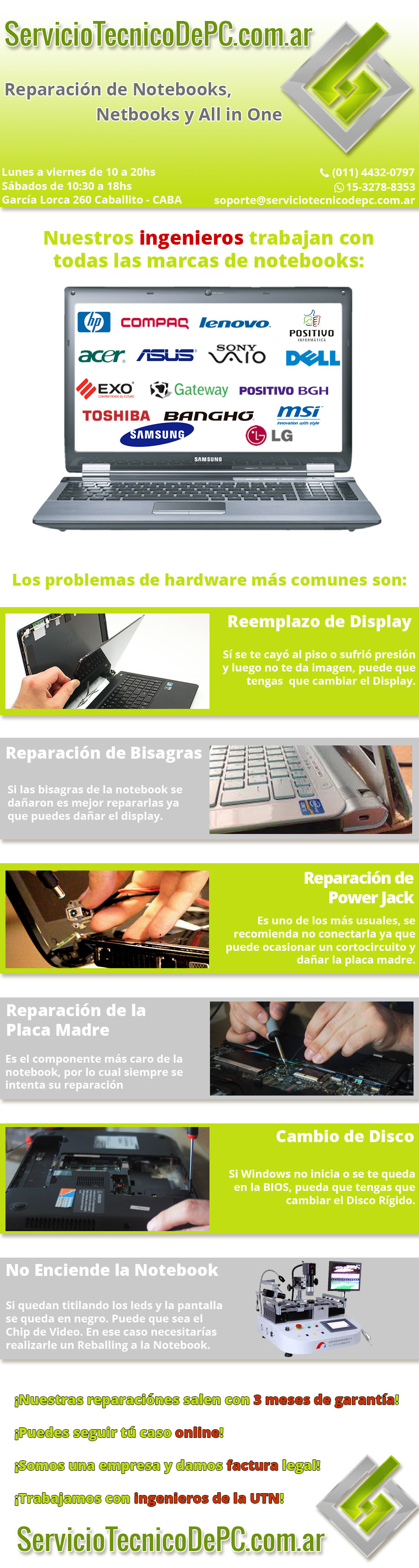 reparcion de notebooks, all in one y netbook